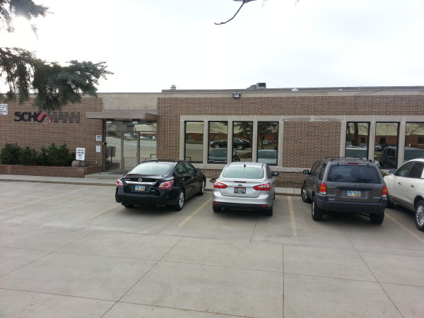 Commercial painted windows, picture and awning, bronze tint, Bedford Ohio