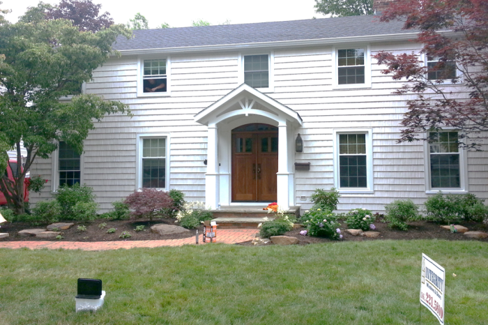 Double-Hung Windows And New Shake Siding In Rocky River, OH