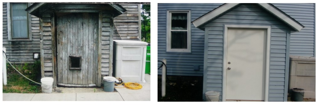 Double steel entry doors before and after