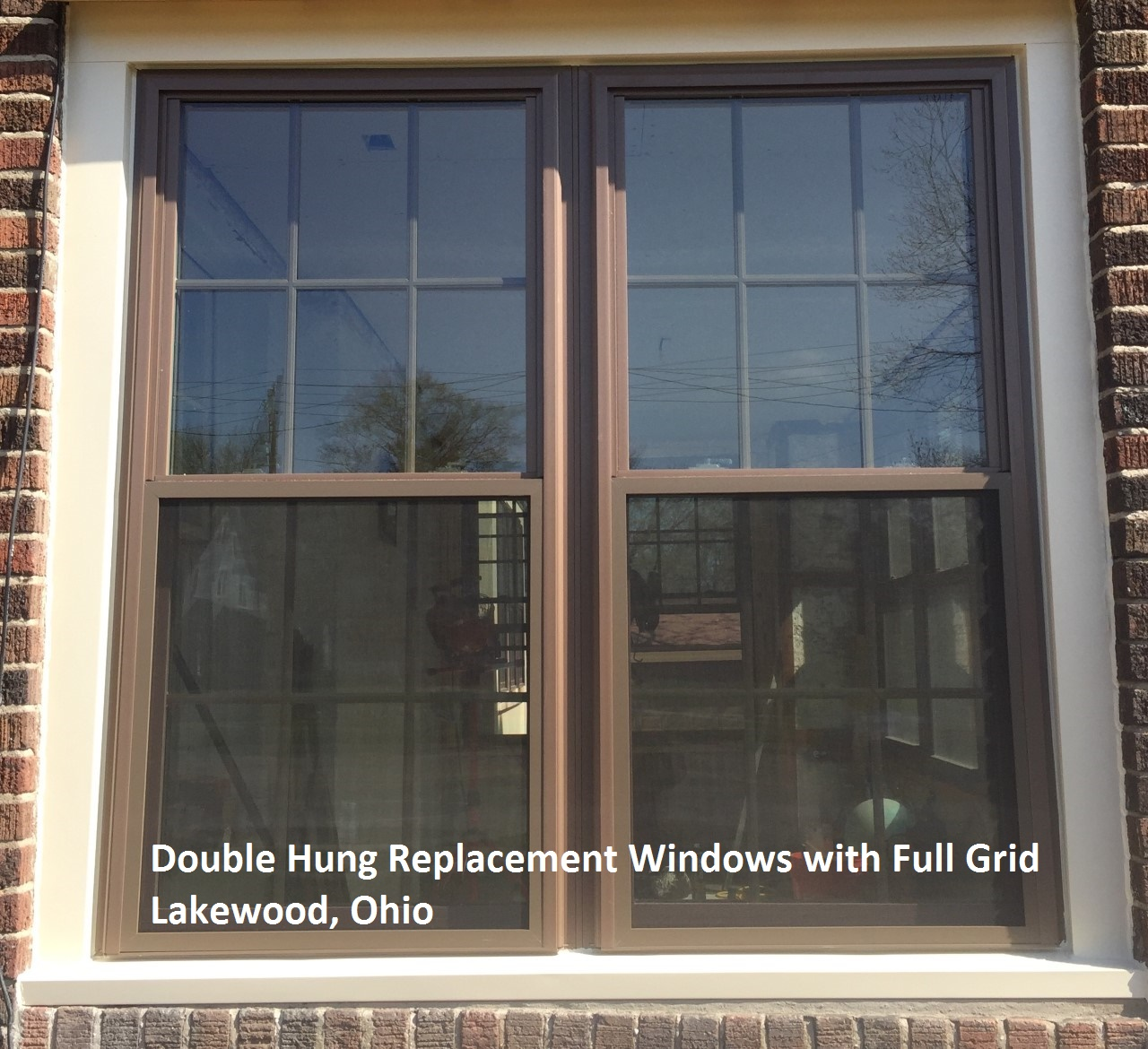 8000 Series Ultra Weld Brown Double Hung Windows With Full Grid Lakewood Ohio