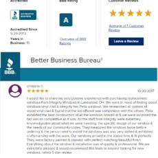 BBB 5 Star Customer Review: Pella Windows in Lakewood