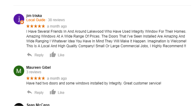 5 Star Google Review: Highly Recommend this Local Lakewood Window Company