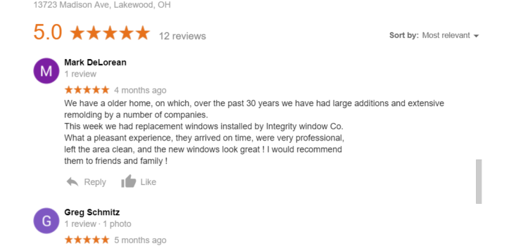 5 Star Google Review: Replacement Windows in Lakewood
