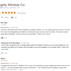 5 Star Google Review for Patio Doors in Lakewood