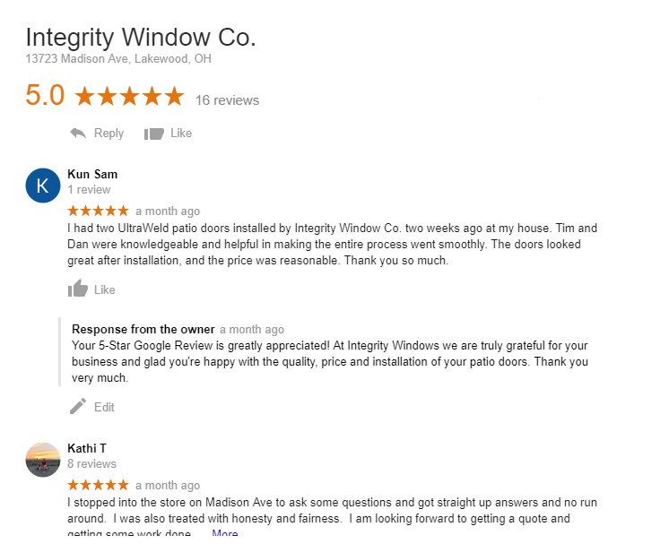 Google Review for Sliding Patio Doors