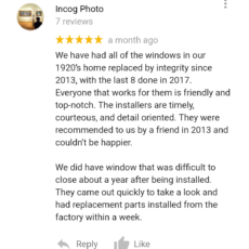 Lakewood, OH Customer Review: 5 Stars for Integrity Windows