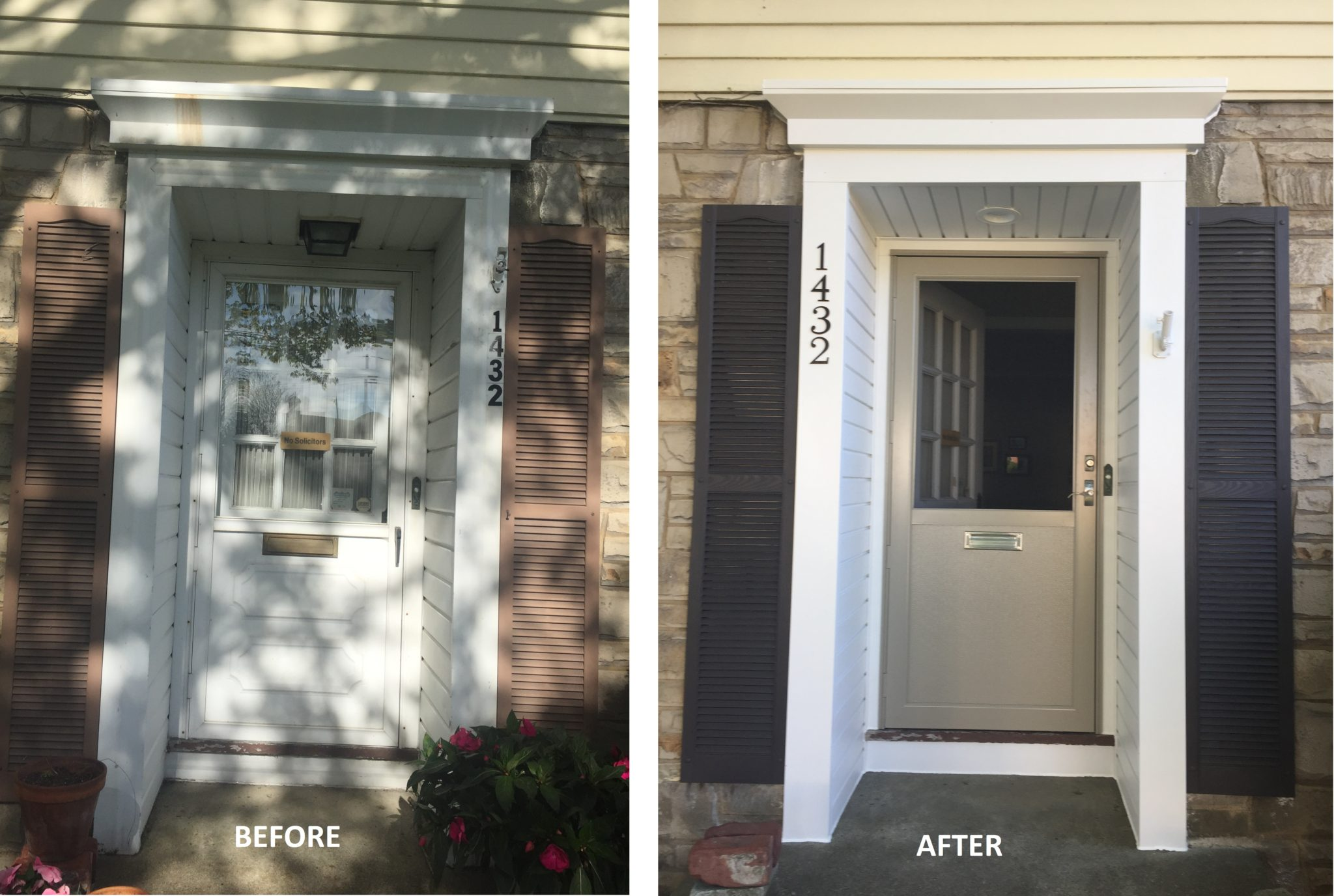 New Storm Door with Resided Entryway Adds to Curb Appeal in Lakewood